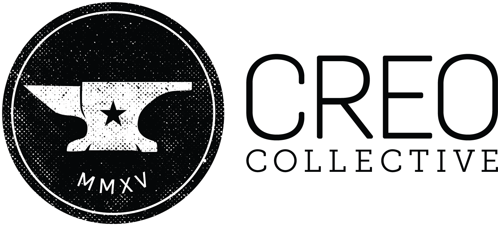 Creo Collective logo - distressed anvil graphic with words Creo Collective