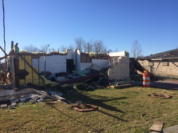 Collapsed walls are all that remains from this New Orleans home.